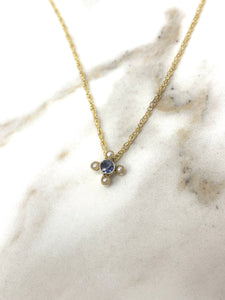 Sapphire and seed pearl cross