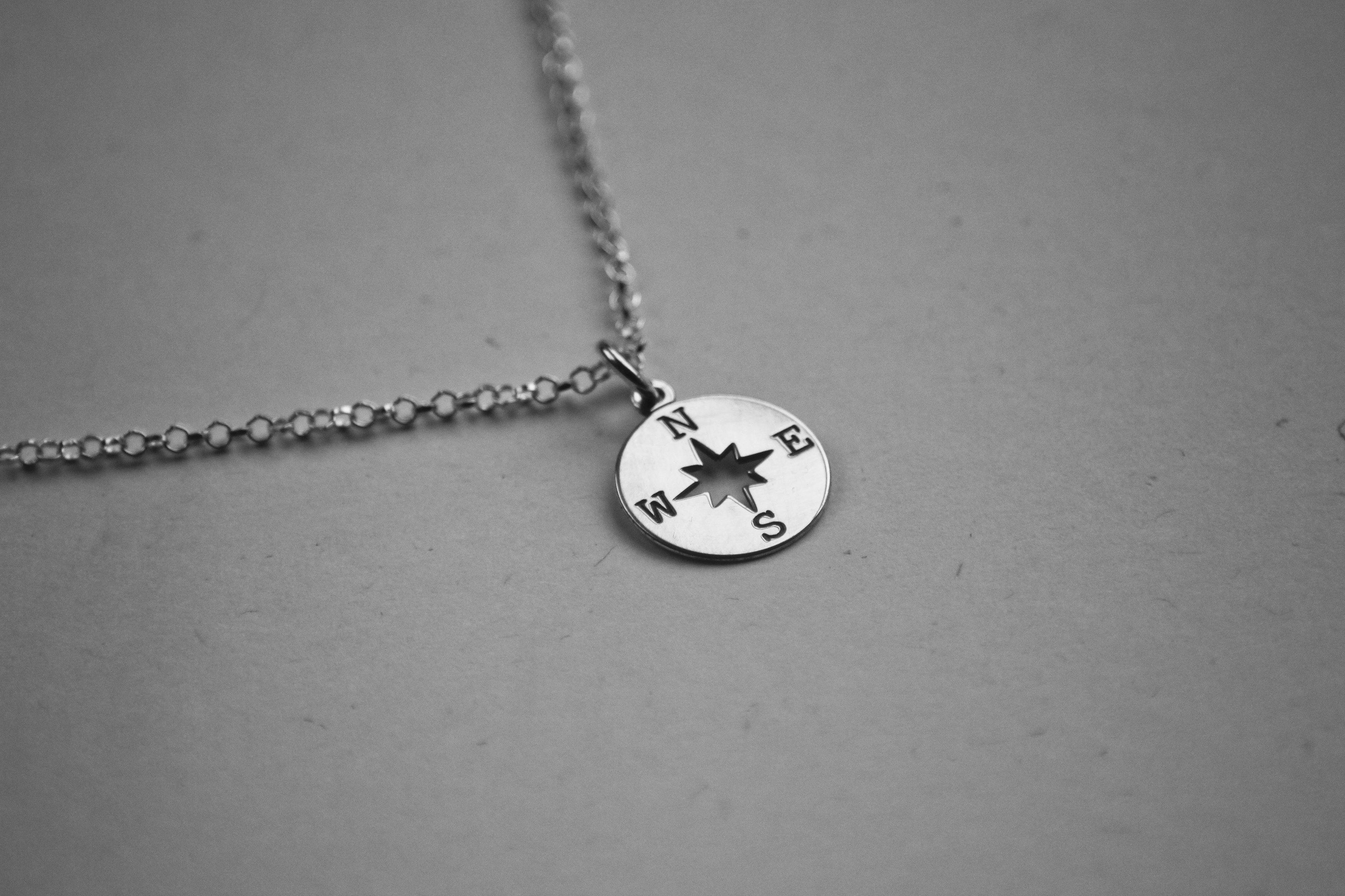 Sterling Silver Compass Charm Necklace - The Jewellery Hut UK
