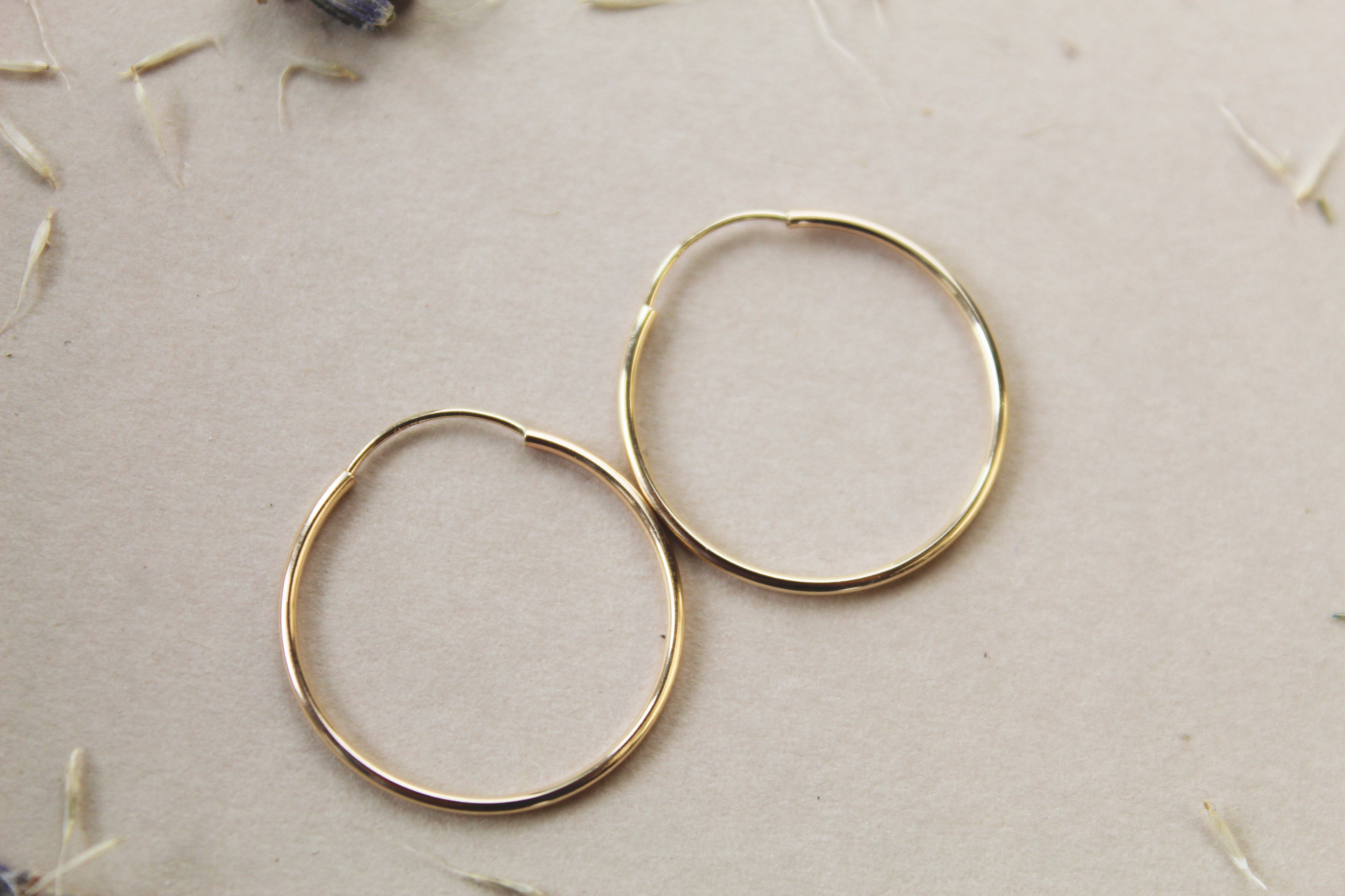 14K Solid Gold 20MM Hoops