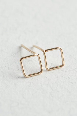 14k Gold Square Stud Earrings on a white surface