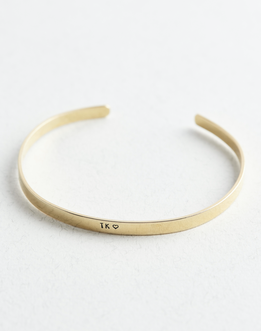 Personalised Brass Cuff Bracelet - The Jewellery Hut UK
