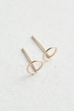 14k Gold Hammered Stud Earrings - The Jewellery Hut UK