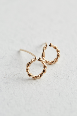 14k Gold Twisted Stud Earrings - The Jewellery Hut UK