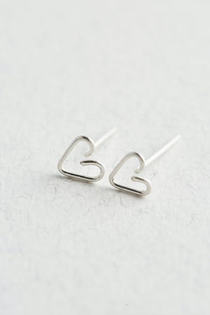 Sterling Silver Heart Stud Earrings on a white background