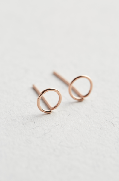 Rose Gold Circle Stud Earrings - The Jewellery Hut UK