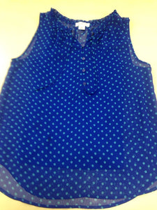 Liz Claiborne Women's Sleeveless Shirt,  Blue with green polka dots, size M