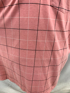 London Fog Pink Check Mens size 2X Short Sleeve One Pocket Polo Shirt