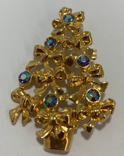 Load image into Gallery viewer, Avon Ribbon Tree Aurora Borealis Rhinestone Brooch/Pin Gold Tone
