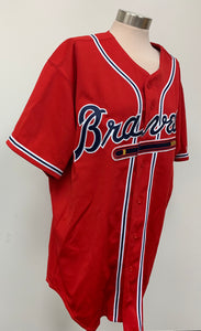 Atlanta Braves MLB Hudson Authentic Collection Majestic Athletic Red Jersey sz 5