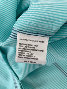 Men's Haggar size XL Light Turquoise White Steel Gray striped button front short