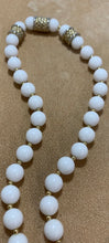 "Load image into Gallery viewer, Vintage White Bead Metal Gold Tone Accent Beads, Hook Clasp 14"", 3"" Ext"