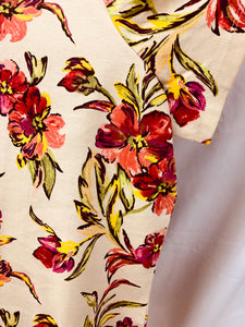 NEW Womens Croft & Barrow size 3X Pink Floral Short Sleeve Crew Neck Shirt To