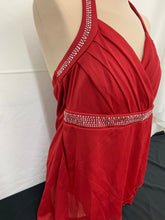 Load image into Gallery viewer, NWT Studio 1940 Womens Padded Dark Red Gems Halter Shirt Top Size XL
