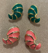 Load image into Gallery viewer, Vintage Set of 2 Gold Tone Salmon & Green Enamel Earrings
