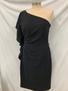 White House Black Market Size 6 One Shoulder Ruffle Women's Sheath Dress