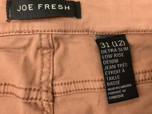 NWT JOE FRESH Women's 31 (12) Ultra Slim Low Rise Denim Dark Blush Jeans