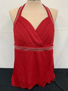 NWT Studio 1940 Womens Padded Dark Red Gems Halter Shirt Top Size XL