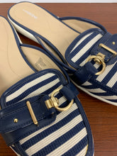 Load image into Gallery viewer, Lands End FEMME Blue White Stripe Slip On Shoes Slides Mules Flats Fabri
