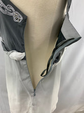 Load image into Gallery viewer, NWT White House Black Market Women's Silk Gray/Silver Beaded Sleeveless Pullover