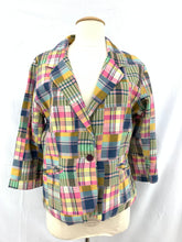 Load image into Gallery viewer, Women's Pink Yellow Blue White Black Plaid Jacket