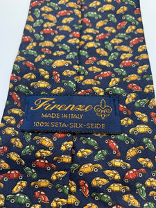 Vintage Firenze Made in Italy 100% Silk Tie, Car-Beetle 61""