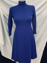 Load image into Gallery viewer, Worth Petite Vintage Blue Turtleneck Dress Sz 2(XS)