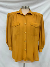 Load image into Gallery viewer, Petite Notations Brand Yellow Button Up Blouse Sz 14