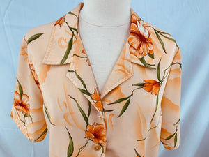 MAGGIE SWEET Size S Heavenly Floral Blouse Shirt Orange Green Peach Butt