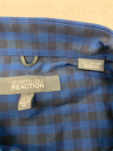 Kenneth Cole Reaction Men 17.5 34-35 Blue Check Shirt Regular Fi