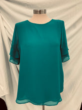Load image into Gallery viewer, Van Husen ruffle sleeve high low pull over Turquoise blouse sz S/P