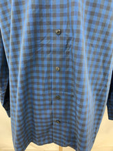 Load image into Gallery viewer, Kenneth Cole Reaction Men 17.5 34-35 Blue Check Shirt Regular Fi