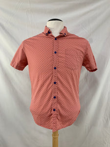 Descendent NYC Slim Fit Pink Printed Short Sleeve Button Front Shirt M