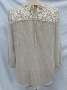 Katiek size L sheer ivory blouse with lace and pleats 3/5 sleeves