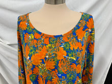 Load image into Gallery viewer, LuLaRoe Womens Lynnae Long Sleeve Shirt 2XLHigh Low Hem  orange blue yellow whit