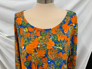 LuLaRoe Womens Lynnae Long Sleeve Shirt 2XLHigh Low Hem  orange blue yellow whit