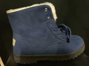 NIB SQL Women's Blue faux fur plush ankle boots size 41/8.5