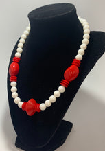 Load image into Gallery viewer, Vintage White & Red Plastic Bead Necklace 19""