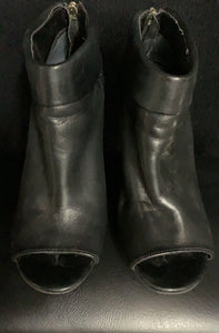 Ivanka Trump Booties Black Open Toe Leather AnkleBoots size 6M