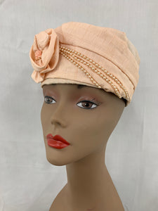 Vintage Peach Beaded Pill Box Hat
