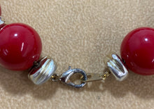 Load image into Gallery viewer, Vintage Red Bead Silver Spacer Necklace 19""