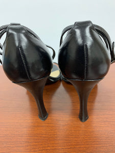 Nine West Womens Origami Black Leather Sandal Ankle Strap Heels size 10M