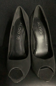 NEW Aldo Black suede peep toe red heel platform Stiletto high heels size