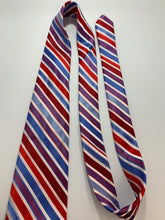 Load image into Gallery viewer, Alexander Julian Colours Red, White, Blue Striped Tie 100 % Polyester