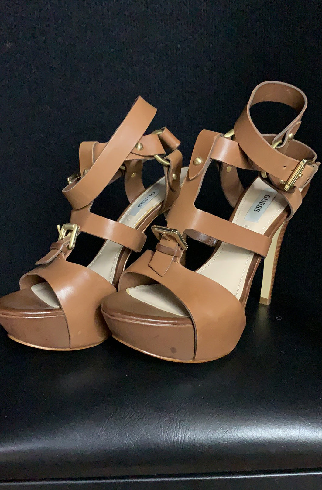 GUESS Strappy Tan Leather Heels size 7.5M