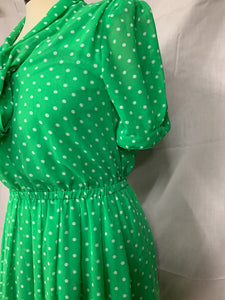 Forever 21 Size S Polka Dot Lime Green White Poka Dot Dress Short Sleeve