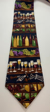 Load image into Gallery viewer, Wine Cellar Theme Alynn Brand tie Vintage 100% Silk Tie 58""