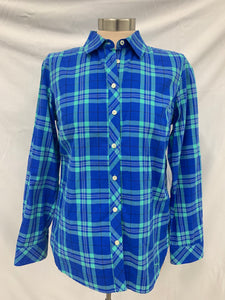 Talbots Petites Button Up Shirt Womens size SP Long Sleeve Plaid Blue Mint Green