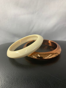 Set 2 Bangles Cream and Shiny Bronze Vintage