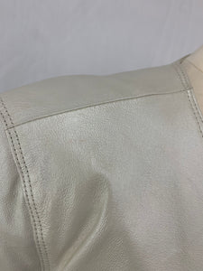 Terry Lewis Women's Classic Luxuries size L Ivory white Leather Jacket