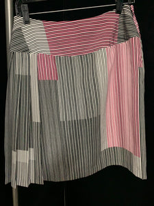 Worthington Size 4 Black White and Pink Stripe Side Pleated Skirt